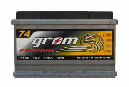 Аккумулятор Grom Premium 74Ah R+ 740A (низкобазовый)